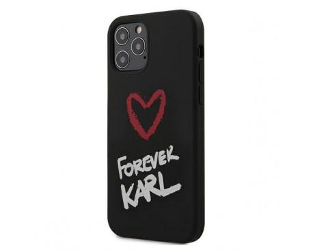 Husa Premium Karl Lagerfeld iPhone 12 / iPhone 12 Pro ,Colectia Silicone Forever Karl ,Negru -KLHCP12MSILKRBK