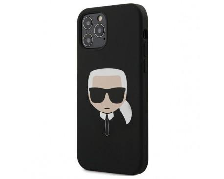 Husa Premium Karl Lagerfeld iPhone 12 / iPhone 12 Pro  ,Colectia Silicone Karl Head ,Negru - KLHCP12MSLKHBK
