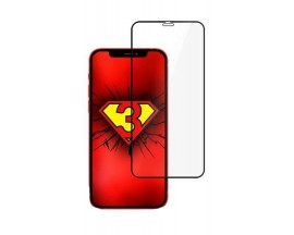 Folie Full Cover Nano Glass Hybrid 3mk Pentru iPhone 12 / iPhone 12 Pro ,transparenta Cu Rama Neagra
