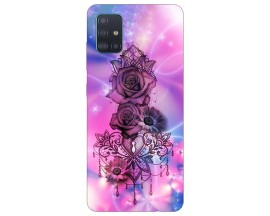 Husa Silicon Soft Upzz Print Samsung Galaxy M51 Model Neon Rose