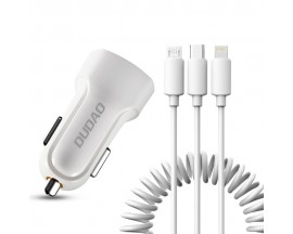 Incarcator Auto Dudao 2x Usb 2.4A + Cablu Date 3 in 1 Lightning / Type C / MicroUsb , Alb -R7
