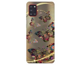 Husa Silicon Soft Upzz Print Samsung Galaxy A31 Model Golden Butetrfly