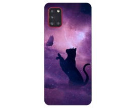 Husa Silicon Soft Upzz Print Samsung Galaxy A31 Model Shadow cat