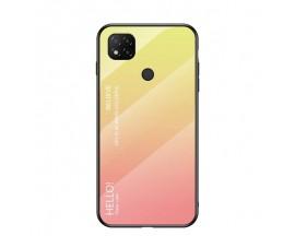 Husa Spate Upzz Gradient Glass Pentru Xiaomi Redmi 9C, Spate Sticla Rezistenta, Roz
