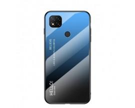Husa Spate Upzz Gradient Glass Pentru Xiaomi Redmi 9C, Spate Sticla Rezistenta, Negru Albastru