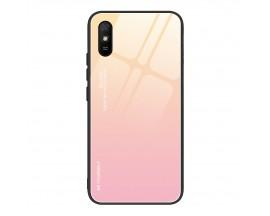 Husa Spate Upzz Gradient Glass Pentru Xiaomi Redmi 9A, Spate Sticla Rezistenta, Roz