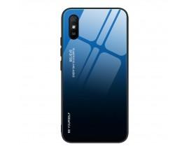 Husa Spate Upzz Gradient Glass Pentru Xiaomi Redmi 9A, Spate Sticla Rezistenta, Negru Albastru