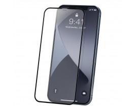 Set 2 X Folie Sticla Securizata Premium Baseus Pentru iPhone 12 / 12 Pro, Transparenta Cu Rama Neagra - Sgapiph61p-pe01