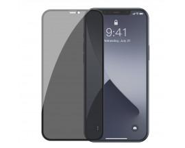 Set 2 X Folie Sticla Securizata Premium Baseus Pentru iPhone 12 Pro Max, Privacy Cu Rama Neagra - SGAPIPH67N-TG01