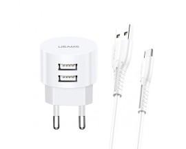 Incarcator Retea Usams 2.1a Rotund Cu Cablu Date Type-c, Alb - T20 Fast Charging