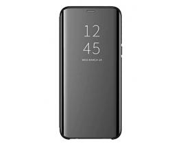 Husa Tip Carte Mirror Samsung Galaxy M31s, Negru Cu Folie Sticla Upzz Glass Inclusa In Pachet