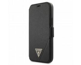 Husa Premium Originala Guess Tip Carte iPhone 12 Mini, Colectia Saffiano, Negru - GUFLBKP12SVSATMLBK