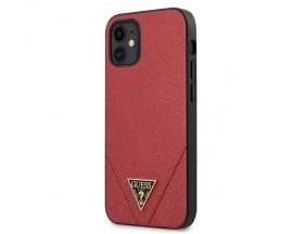 Husa Premium Originala Guess Tip Carte iPhone 12 Mini, Colectia Saffiano, Rosu - GUHCP12SVSATMLRE