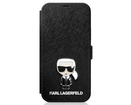 Husa Premium Originala Tip Carte Karl Lagerfeld iPhone 12 Mini, Colectia Saffiano Ikonik Metal, Negru - KLFLBKP12SIKMSBK