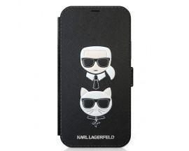 Husa Originala Tip Carte Karl Lagerfeld iPhone 12 Mini, Colectia Saffiano Karl And Choupette, Negru - KLFLBKP12SSAKICKCBK
