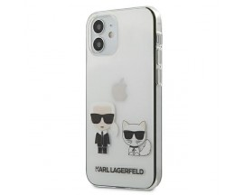Husa Premium Karl Lagerfeld iPhone 12 Mini, Transparent Karl & Choupette - KLHCP12SCKTR