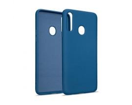 Husa Premium Upzz Liquid Silicon Pentru Samsung Galaxy A20s, Cu Invelis Alcantara La Interior , Albastru