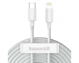 Set 2 x Cablu Date Premium Baseus Power Delivery 20W, Type-C La Lightning, 1,5M Lungime, Alb