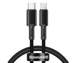 Cablu Date Premium Baseus Power Delivery 20W, Type-C La Lightning, 2M Lungime, Textil, Negru- CATLGD-A01