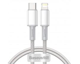 Cablu Date Premium Baseus Power Delivery 20W, Type-C La Lightning, 2M Lungime, Textil, Alb - CATLGD-A02