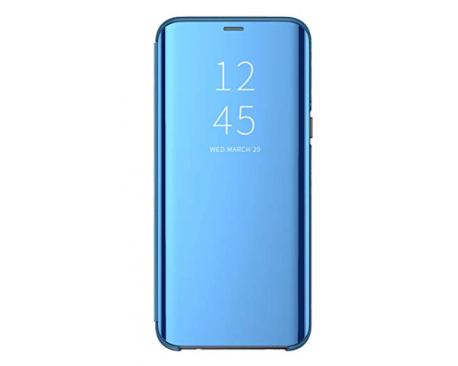 Husa Tip Carte Mirror Samsung Galaxy M31s, Albastru Cu Folie Sticla Upzz Glass Inclusa In Pachet