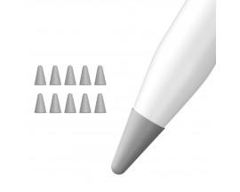 Protectie Apple Pencil 1 / 2 Pentru Varf Din Silicon , 10 bucati ,Negru si Gri