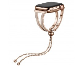Curea Apple Watch, Tech Protect Chainband, Compatibila Cu Apple Watch 2/3/4/5/6/SE (38/40mm), Gold