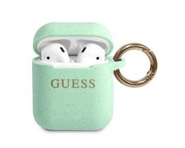 Husa Protectie Originala Guess Compatibila Cu Airpods 1/2  Colectia Silicone Glitter Verde - GUACCSILGLGN