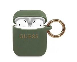Husa Protectie Originala Guess Compatibila Cu Airpods 1/2  Colectia Silicone Glitter Kaki - GUACCSILGLKA