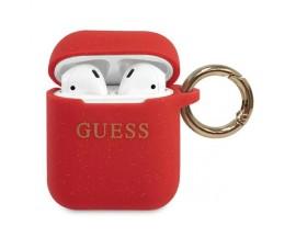 Husa Protectie Originala Guess Compatibila Cu Airpods 1/2  Colectia Silicone Glitter Rosu - GUACCSILGLRE