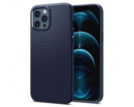 Husa Premium Originala Spigen Liquid Air iPhone 12 Pro Max, Silicon, Albastru