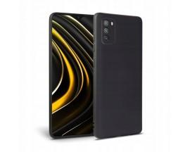 Husa Premium Upzz Liquid Silicon Pentru Xiaomi Poco M3, Cu Invelis Alcantara La Interior, Negru