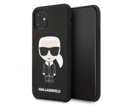 Husa Originala Karl Lagerfeld iPhone 11, Colectia Silicon Iconic, Negru - KLHCN61SLFKBK