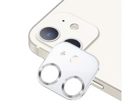Protectie Camera Usams Metal Si Sticla Securizata Pentru iPhone 12 - Silver White