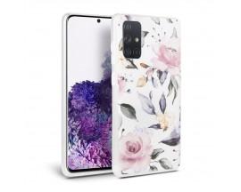 Husa Spate Tech-protect Floral Silicone Samsung Galaxy A51 Alb