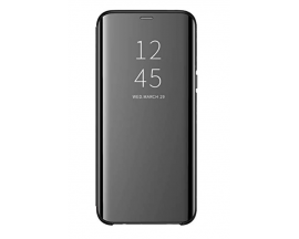 Husa Tip Carte Mirror Samsung A50 Negru Cu Folie Sticla Upzz Glass Inclusa In Pachet