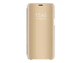 Husa Tip Carte Mirror Samsung A50 Gold Cu Folie Sticla Upzz Glass Inclusa In Pachet