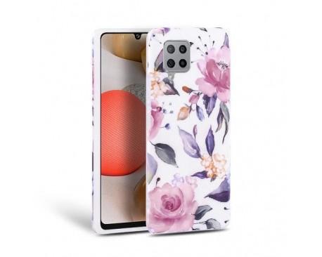 Husa Spate Tech-protect Floral Silicone Samsung Galaxy A42 5G, Alb