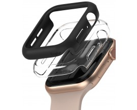 Set 2 x Husa Ringke Slim Compatibila Cu Apple Watch 4/5/6/SE 44MM, 1 x Negru, 1 x Transparenta