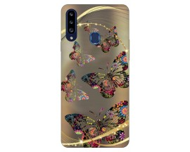 Husa Silicon Soft Upzz Print Samsung Galaxy A20s Model Golden Butterfly