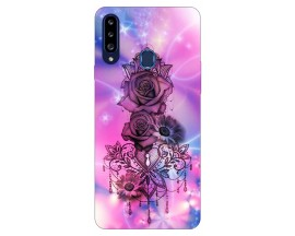 Husa Silicon Soft Upzz Print Samsung Galaxy A20s Model Neon Rose