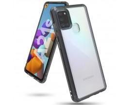 Husa Premium Ringke Fusion Compatibila Cu Samsung Galaxy A21s, Transparenta Cu Rama Fumurie