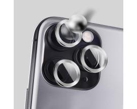 Protectie Premium Mr. Monkey Pentru Camera Din Aluminiu Si Sticla Securizata iPhone 12 Pro Max - Silver