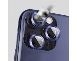 Protectie Premium Mr. Monkey Pentru Camera Din Aluminiu Si Sticla Securizata iPhone 12 Pro - Albastru
