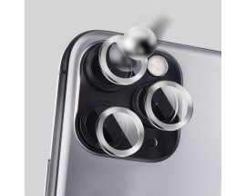 Protectie Premium Mr. Monkey Pentru Camera Din Aluminiu Si Sticla Securizata iPhone 12 Pro - Silver