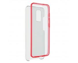 Husa 360 Grade Full Cover Upzz Case Samsung Galaxy S21 Ultra, Transparenta Cu Margine Rosie