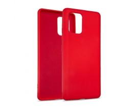 Husa Premium Upzz No Logo Soft Silicon Compatibila Cu Samsung Galaxy S10 Lite, Invelis Alcantara La Interior, Rosu