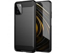 Husa Spate Upzz Carbon Pro Compatibil Cu Xiaomi Poco M3, Silicon, Negru