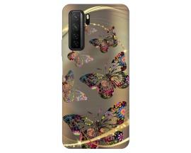 Husa Silicon Soft Upzz Print Huawei P40 Lite 5G Model Golden Butterflies