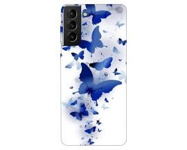 Husa Silicon Soft Upzz Print Compatibila Cu Samsung Galaxy S21 Model Blue Butterflies